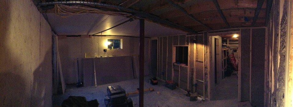 Half a ceiling worth of sheetrock in place