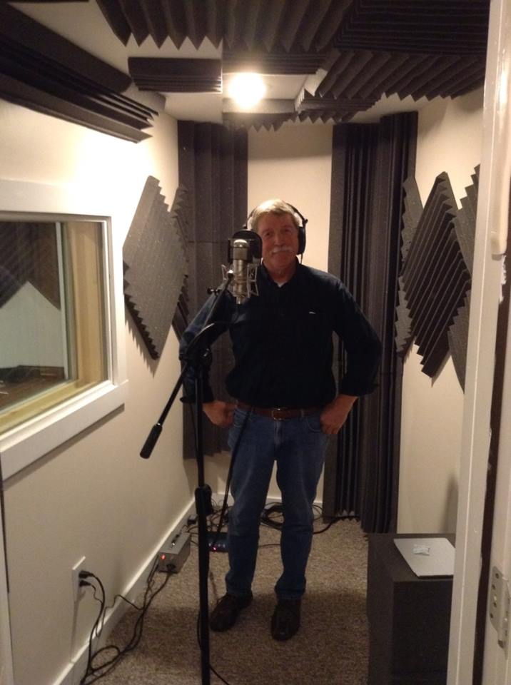 Scott Woodruff tracking vocals in the new booth